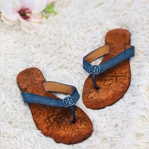 Tory Burch Thora Thong Flat Sandals Blue Leather 7